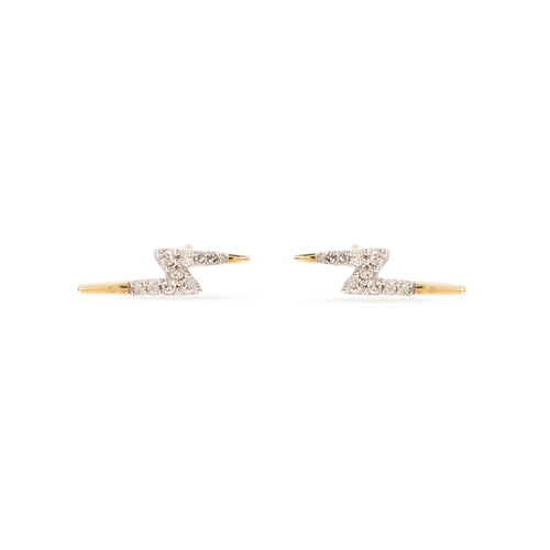 Tiny Pave Lightening Bolt Stud