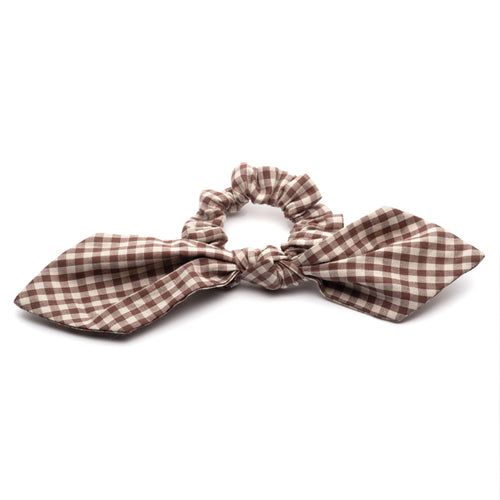 Brown Gingham Scrunchies