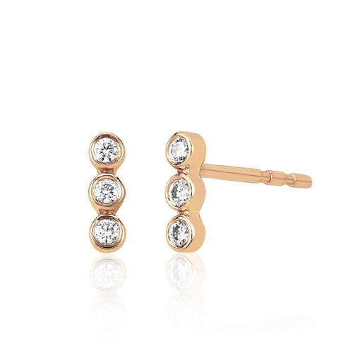 Diamond Triple Bezel Stud Earring