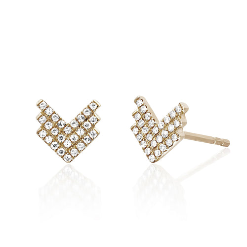 Diamond Shield Stud Earring