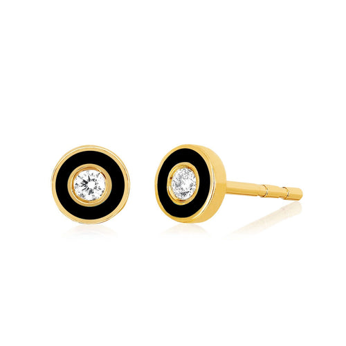 Diamond and Black Enamel Bezel Stud Earring