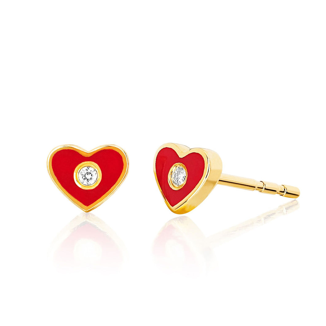 Diamond and Red Enamel Heart Stud Earring