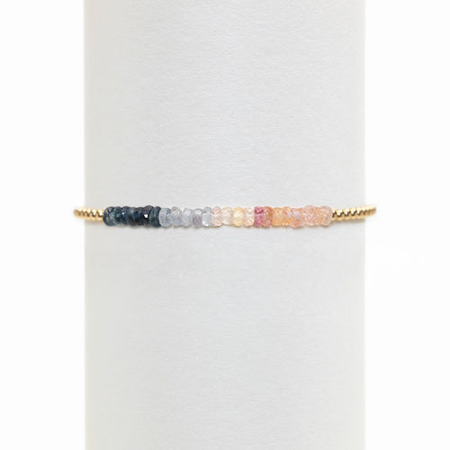 2mm Yellow Gold Filled Bracelet with Blue, Gray, and Peach Ombre
