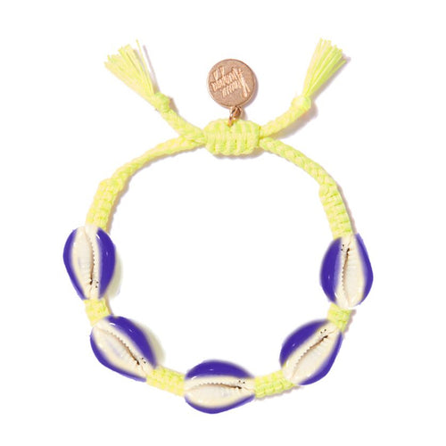 Purple/Neon Yellow Shell Bracelet