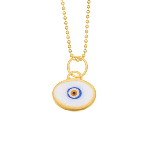 White Evil Eye set in 24k Gold