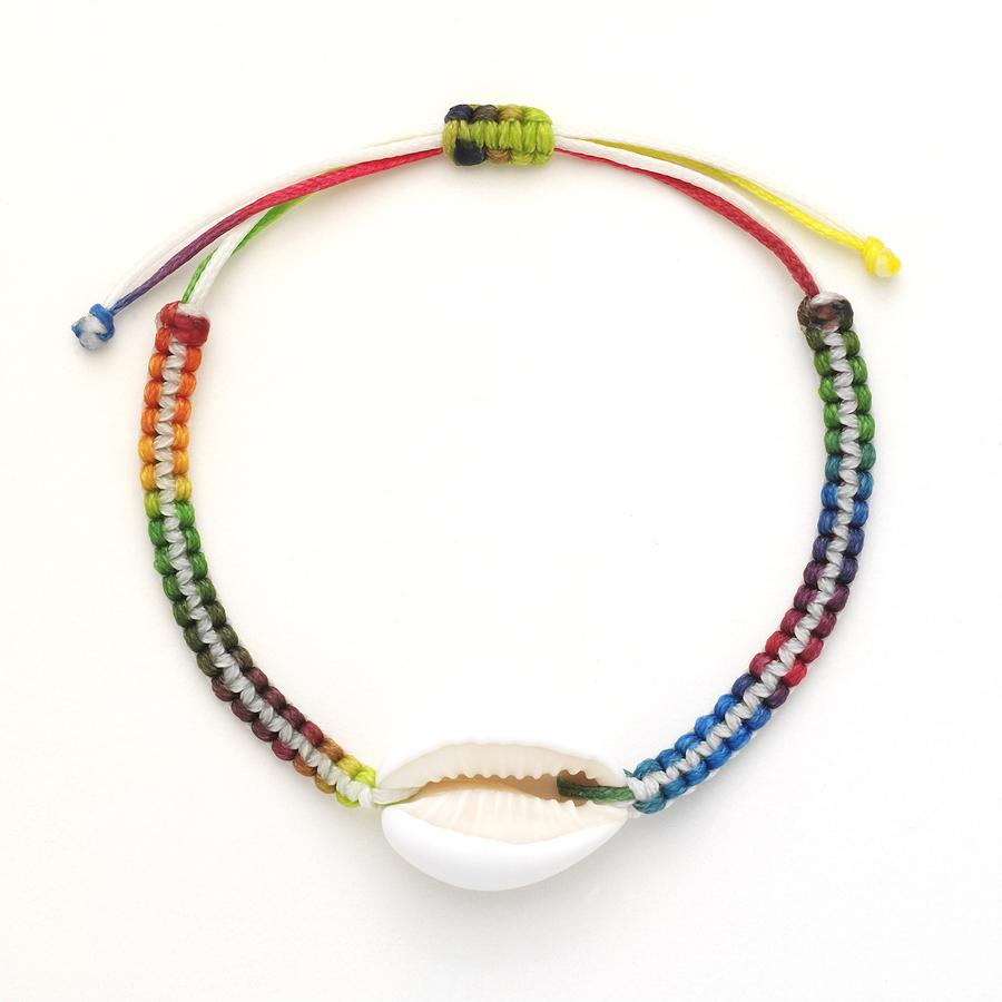 White Stripe Rainbow Cowrie Shell Bracelet