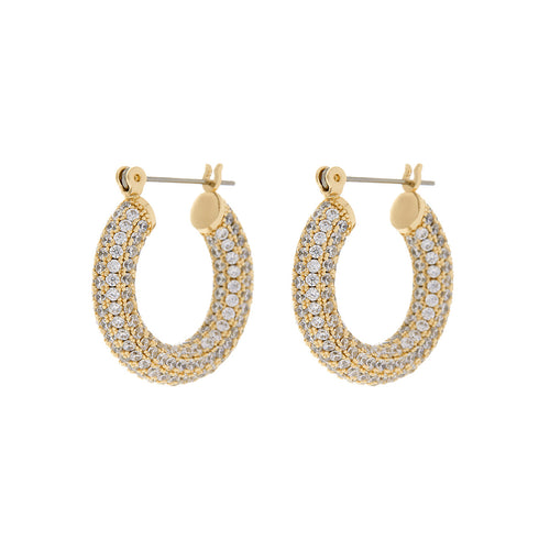 Yellow gold white crystal baby Amalfi hoop