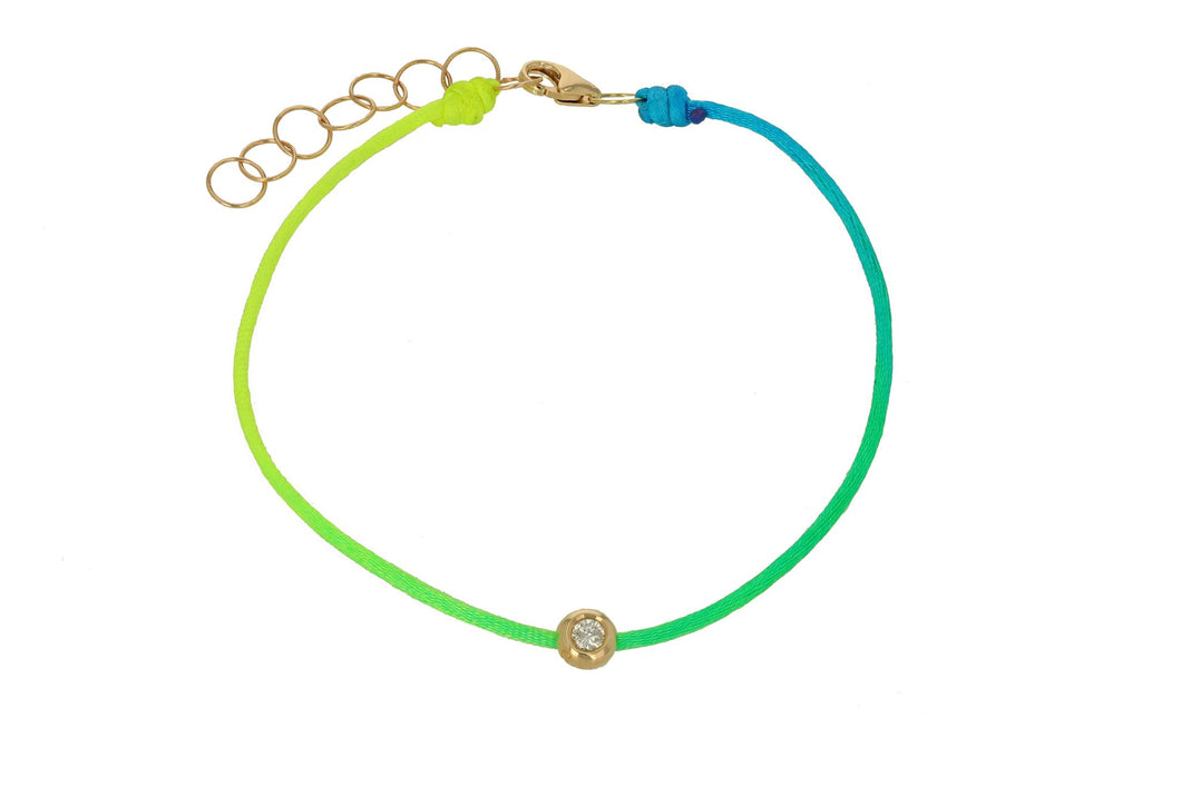 Yellow/Green Diamond and Rainbow Stripe Bracelet