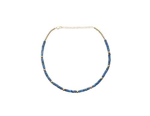 Blue Heishi Necklace with Rose Gold Pattern