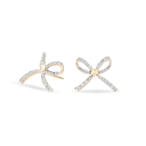 Tiny Pave Bow Earrings