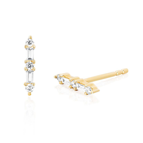 Diamond Baguette Prong Set Bar Earring