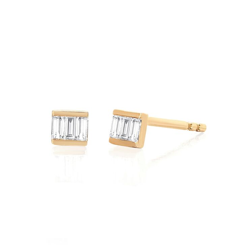 Diamond Mini Baguette Stud Earring