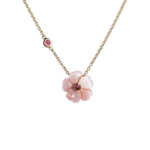 Joy Mother of Pearl Pink Peony Necklace