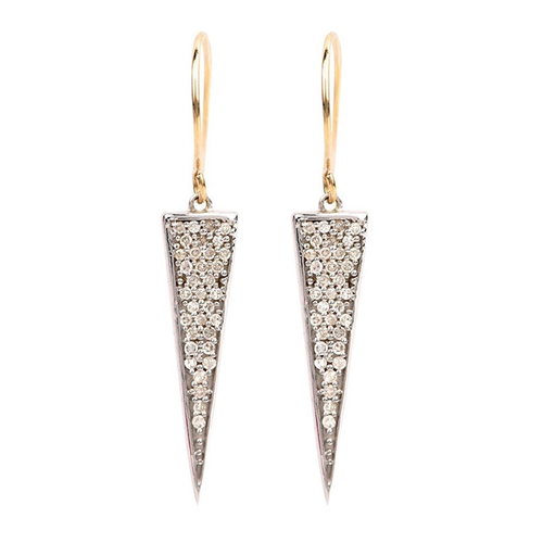 Diamond Long Solid Triangle Diamond Earrings
