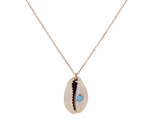 Shell and Turquoise Cauri Pendant Necklace