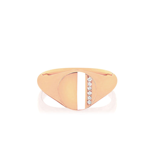 Diamond and White Enamel Stripe Signet Ring