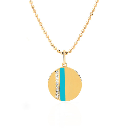 Mini Diamond Disc Turquoise Enamel Stripe Necklace