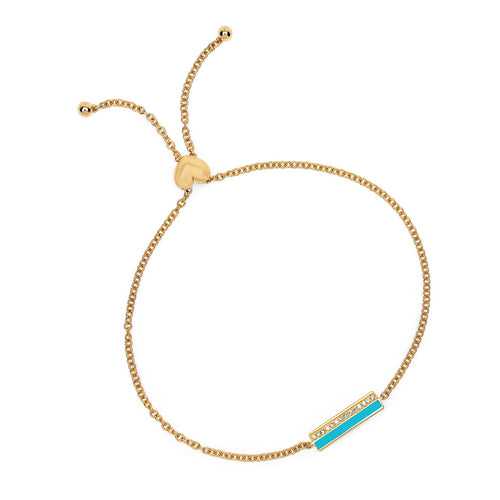 Diamond and Turquoise Enamel Bar Bolo Chain Bracelet