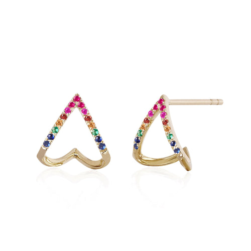 Rainbow Chevron Huggie Earrings