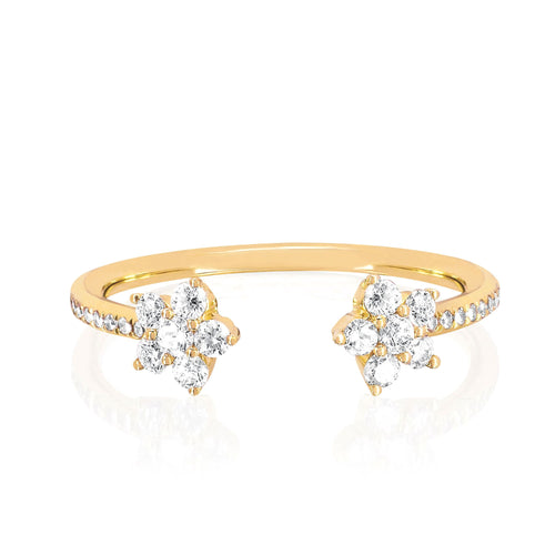 Open Diamond Flower Ring