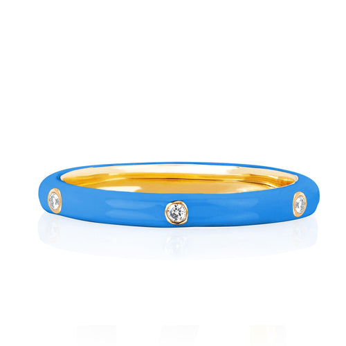 3 Diamond Enamel Stack Ring Light Blue