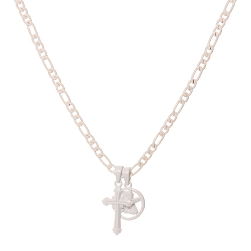 White Triple Charm Necklace