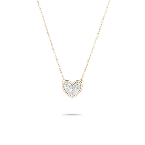 Tiny Pave Folded Heart Necklace