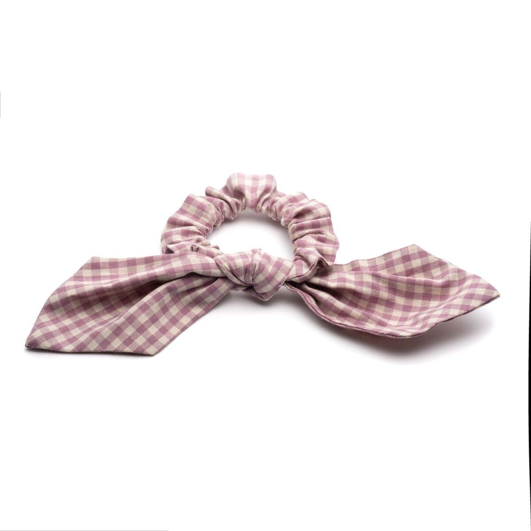 Mauve Gingham Scrunchies