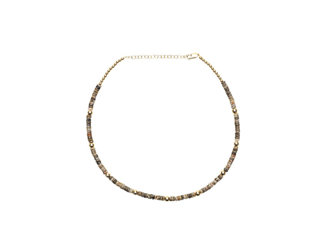 Tan Heishi Necklace with Yellow Gold Pattern