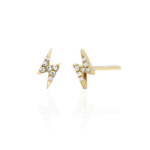 Diamond Mini Lightning Bolt Stud