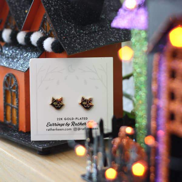 Black Cat Earrings-Earrings-Miss Rosie Co.