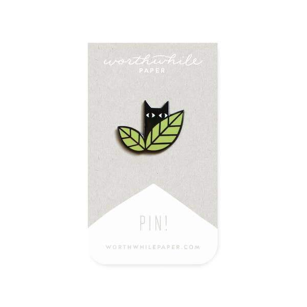 Black Cat Leaves Enamel Pin-Enamel Pins-Miss Rosie Co.