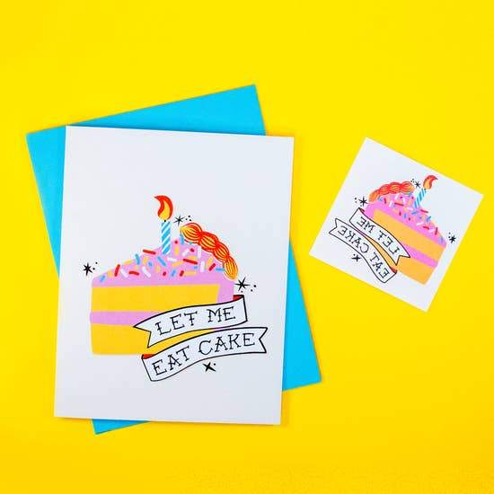 Let Me Eat Cake Birthday Card-Greeting Cards-Miss Rosie Co.