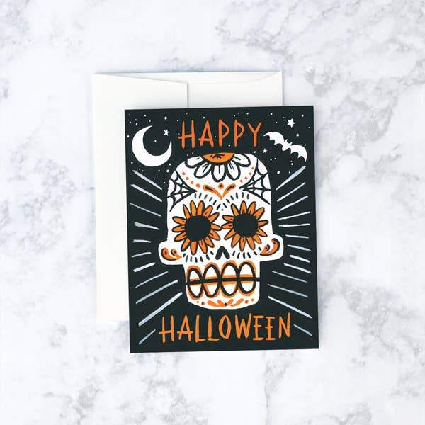 Sugar Skull Card-Greeting Cards-Miss Rosie Co.