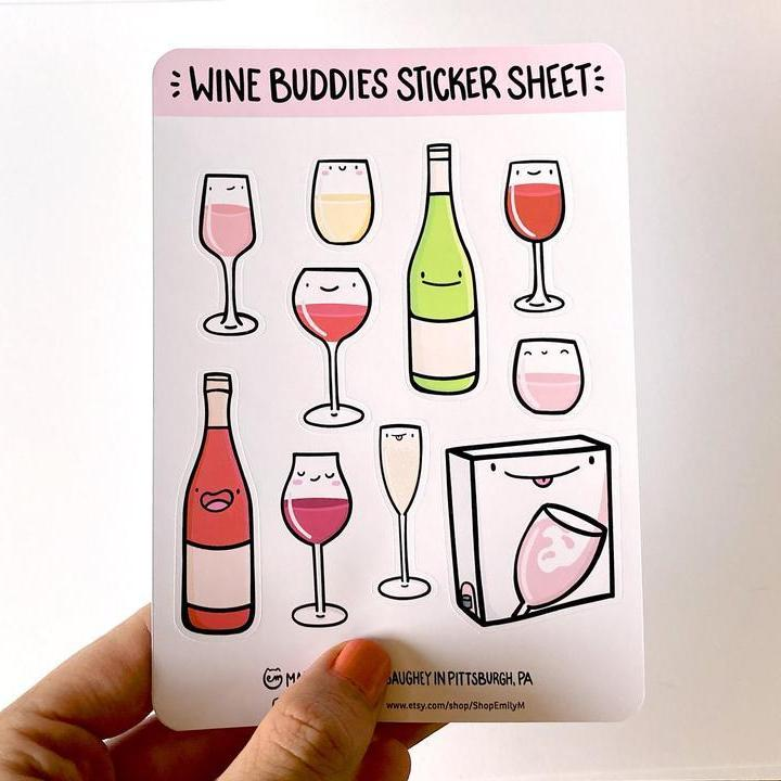 Wine Buddies Sticker Sheet-Stickers-Miss Rosie Co.