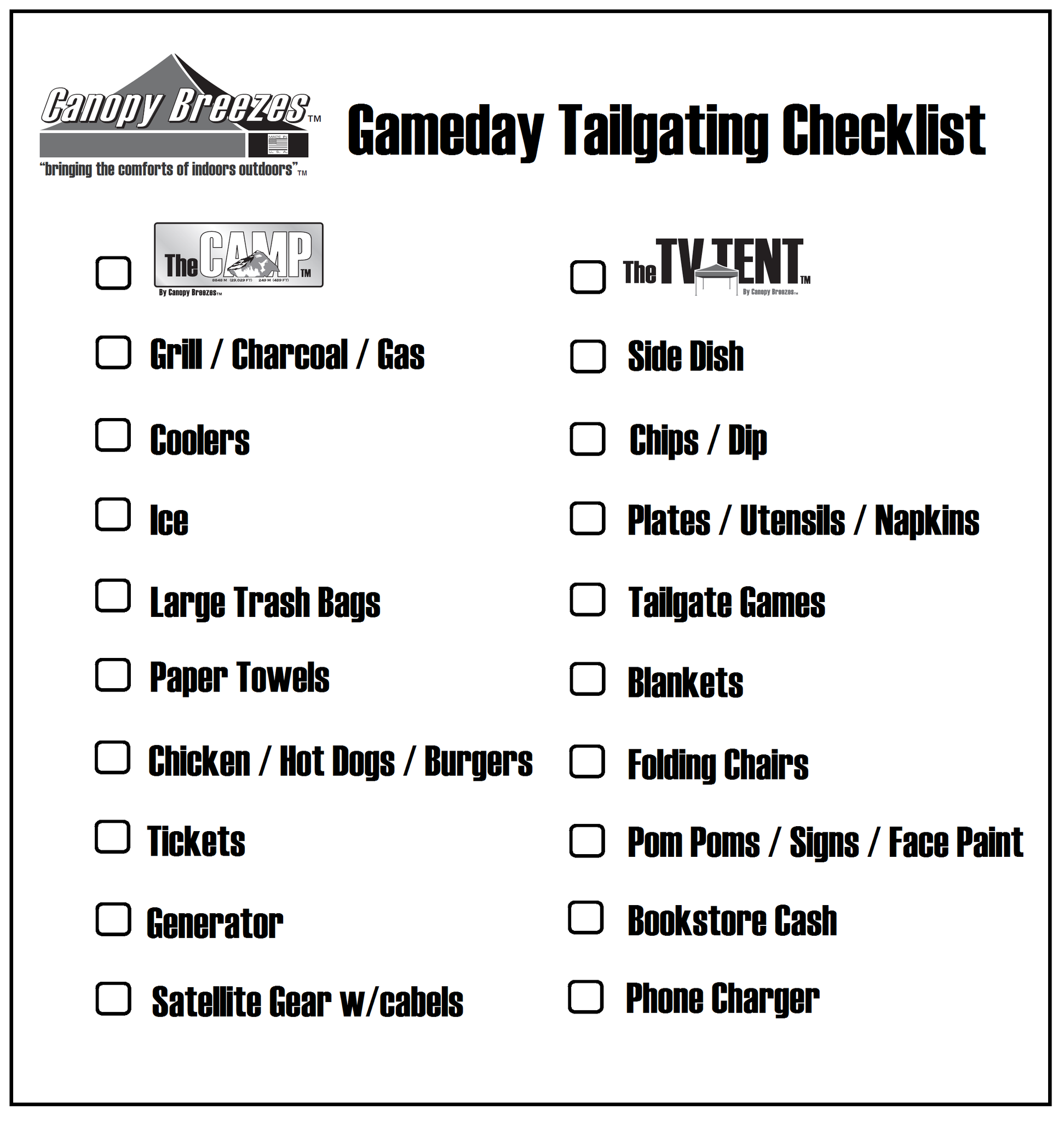 Gameday Tailgating Checklist