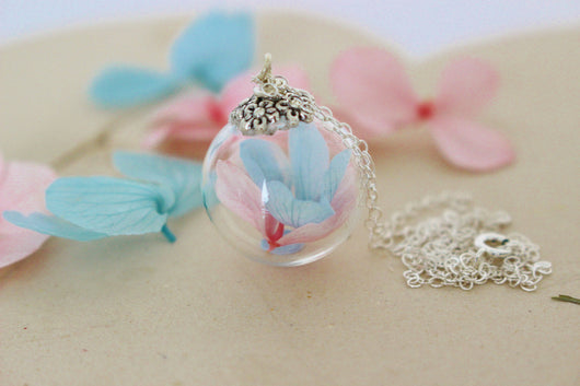 Blue and pink Hydrangea Necklace