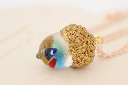Rainbow Acorn Seaglass Necklace