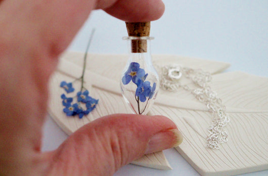 Forget me not teardrop Necklace, Little Vial Necklace