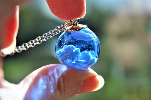 Blue Sky and Clouds Resin Necklace