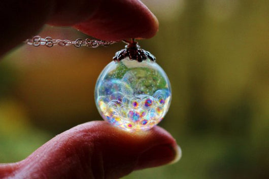 Fairy Necklace, Resin Sphere With Magical Fairy Beads, Rainbow Bubble Necklace