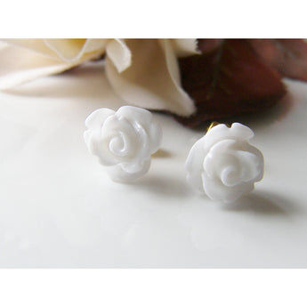 Rose Earrings, Flower Studs, Stud Earrings, White Rose Earrings, Bridal Jewelry, Gift for Mom