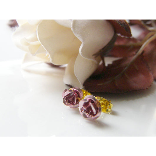 Dainty Pink Rose Earring Posts, Studs, Handcrafted