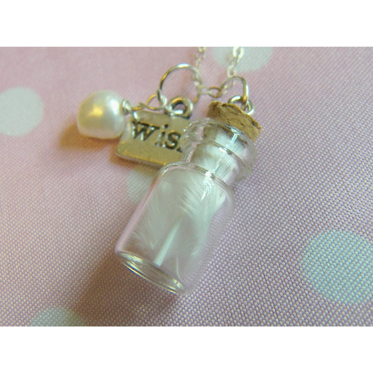 Little Bottle Necklace, Guardian Angel Necklace, Glass Bottle Charm Pendant, Mum Gift, Mom
