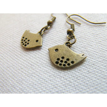 Bird Earrings, Love Birds, Dangle Earrings, Bronze Earrings, Drop Earrings