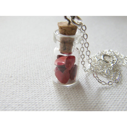 Cute Vial Necklace filled with Red Hearts, Glass Vial