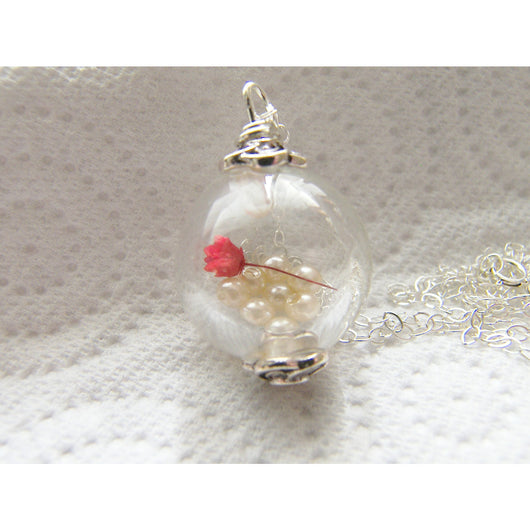 Real Flower Botanical Necklace Hand Blown Glass Globe - RED ROSE - Bridal Jewelry