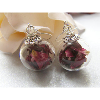 Red Rose Petal Earrings, Handblown Glass, Glass Globe Earrings, Botanical, Eco Friendly