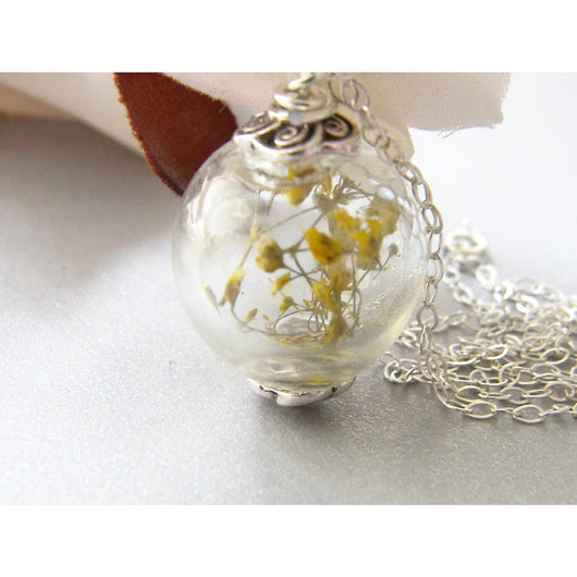 Flower Botanical Necklace,  Handmade Jewellery, Glass Globe, Bridal Jewelry, Eco Resin, Jewelry for Her, Gift for Sister, Wife, Girlfriend