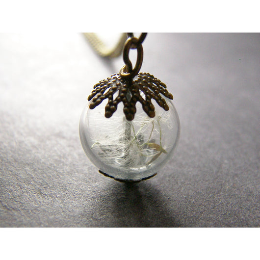 Dandelion Seed Glass Globe Necklace with Bronze Filigree Caps, Small Orb, Bridesmaids Jewelry